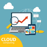 Cloud Computing Concept on Different Electronic Devices. Vector Stock Images