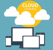 Cloud Computing Concept on Different Electronic Devices. Vector Royalty Free Stock Photography