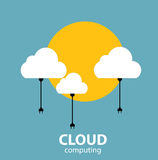 Cloud Computing Concept on Different Electronic Devices. Vector Royalty Free Stock Photos