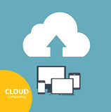 Cloud Computing Concept on Different Electronic Devices. Vector Stock Photo