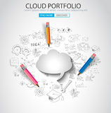 Cloud computing concept with doodle skeches infographics. Icons. Hand drawn icons of maths, graphs, notes, pencils, mail, and so on Stock Photos