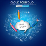 Cloud computing concept with doodle skeches infographics icons. Hand drawn icons of maths, graphs, notes, pencils, mail, and so on Stock Photography