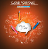 Cloud computing concept with doodle skeches infographics icons. Hand drawn icons of maths, graphs, notes, pencils, mail, and so on Royalty Free Stock Photography
