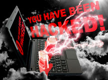 Cloud Computing Concept. Ethernet Cable on Black Sky with You Have Been Hacked sign royalty free stock image
