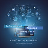 Cloud Computing Concept. Everything Into the Cloud - Blue Abstract Cloud Computing Concept Design with World Map, Mobile Devices and Laptop PC in the Center and Stock Photo