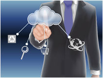 Cloud computing concept. Finger touching the cloud Royalty Free Stock Image