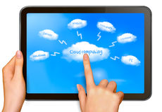 Cloud computing concept  Finger touching cloud. On a touch screen  Vector Royalty Free Stock Photography