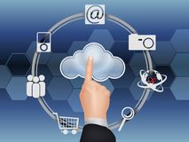 Cloud computing concept, finger touching the cloud. Illustration of Cloud computing concept, finger touching the cloud Royalty Free Stock Photography