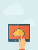 Cloud computing concept. Finger touching cloud on a tablet touch screen. Cloud computing concept. Vector flat design Illustration. Horizontal layout with a text Stock Photos