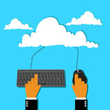 Cloud computing concept in flat style for web Royalty Free Stock Image