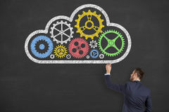 Cloud Computing Concept and Gear Drawing on Blackboard Royalty Free Stock Images