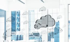 Cloud computing concept with glass symbol shown in air. Mixed me. Glass cloud icon as concept for cloud computing on interior background. Mixed media stock photo