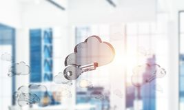 Cloud computing concept with glass symbol shown in air. Mixed me. Glass cloud icon as concept for cloud computing on interior background. Mixed media royalty free stock photos