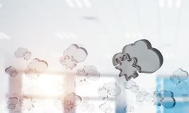 Cloud computing concept with glass symbol shown in air. Mixed me. Glass cloud icon as concept for cloud computing on interior background. Mixed media stock photography