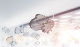 Cloud computing concept with glass symbol shown in air. Mixed media. Glass cloud icon as concept for cloud computing on interior background. Mixed media vector illustration