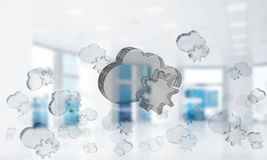 Cloud computing concept with glass symbol shown in air. Mixed media. Glass cloud icon as concept for cloud computing on interior background. Mixed media stock photo