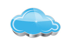 Cloud computing concept: glossy blue cloud icon isolated Stock Photos