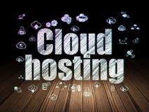 Cloud computing concept: Cloud Hosting in grunge dark room Stock Images