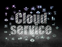 Cloud computing concept: Cloud Service in grunge dark room Royalty Free Stock Photo