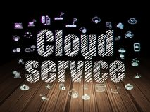 Cloud computing concept: Cloud Service in grunge dark room Stock Photo