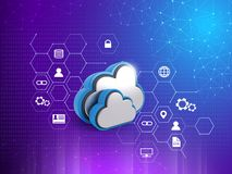 Cloud Computing Concept, Graphs, connected lines, 3D rendering abstract background. Cloud storage features. online cloud storage royalty free illustration