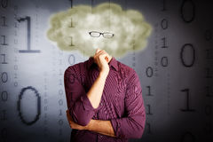 Cloud Computing Concept. An IT guy with a cloud for a head and flying digital numbers, illustrating `cloud computing stock photography