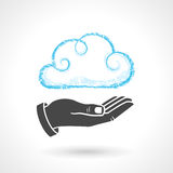 Cloud Computing Concept With Hand. Hand drawn cloud symbol with a hand. Vector drawing of cloud computing concept. EPS 10 file Stock Images