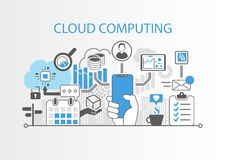 Cloud computing concept with hand holding modern bezel free smart phone stock illustration