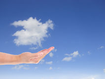 Cloud computing concept. hand Royalty Free Stock Images