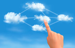 Cloud computing concept. Hand touching connected c Royalty Free Stock Image
