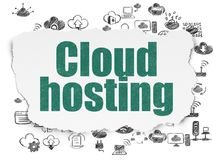 Cloud computing concept: Cloud Hosting on Torn Paper background. Cloud computing concept: Painted green text Cloud Hosting on Torn Paper background with  Hand Stock Photography