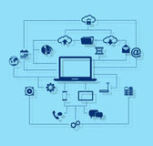 Cloud computing concept with icons Royalty Free Stock Photography