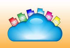 Cloud computing concept illustration. Cloud computing concept with documents in the cloud stock illustration