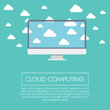 Cloud computing concept illustration with computer Stock Photos