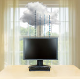 Cloud computing concept illustration with desktop PC Stock Photography
