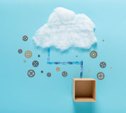 Cloud computing concept image. Cloud computing concept with empty cardboard box royalty free stock photos