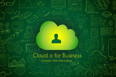 Cloud Computing concept with infographics sketch set: Royalty Free Stock Photos