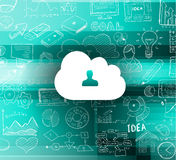 Cloud Computing concept with infographics sketch set: design elements Stock Images