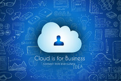 Cloud Computing concept with infographics sketch set: Royalty Free Stock Photography
