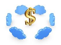 Cloud computing concept. Isolated on white.3d rendered royalty free stock photo