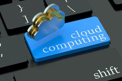 Cloud computing concept on keyboard button Stock Images