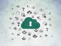 Cloud computing concept: Cloud With Keyhole on Digital Data Paper background. Cloud computing concept: Painted green Cloud With Keyhole icon on Digital Data Royalty Free Stock Photo