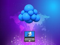 Cloud Computing Concept, Laptop with flaying balloons, 3D rendering abstract background stock illustration