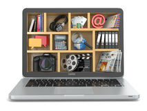 Cloud computing concept. Laptop's software and capabilities. stock illustration