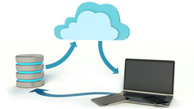 Cloud Computing Concept with laptop, tablet pc, phone and Database Icon Stock Photos