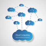 Cloud Computing Concept. Light Blue Cloud Computing Design with Wired Clouds - Global Connections Concept Illustration in Editable Vector Format Stock Photos