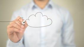 Cloud Computing Concept,  Man writing on transparent screen Royalty Free Stock Photos