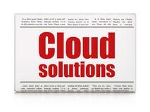 Cloud computing concept: newspaper headline Cloud Solutions Stock Photography