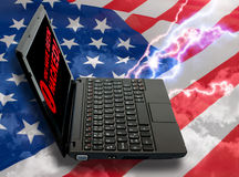 Cloud Computing Concept. Notebook on American Flag stock photo