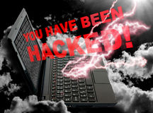 Cloud Computing Concept. Notebook on Black Sky with You Have Been Hacked sign stock image